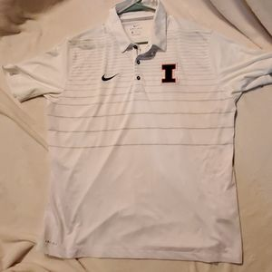 Nike,  dry-fit. Polo style shirt.  White U of I em